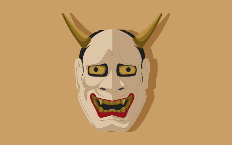 ilustración de máscara de teatro noh