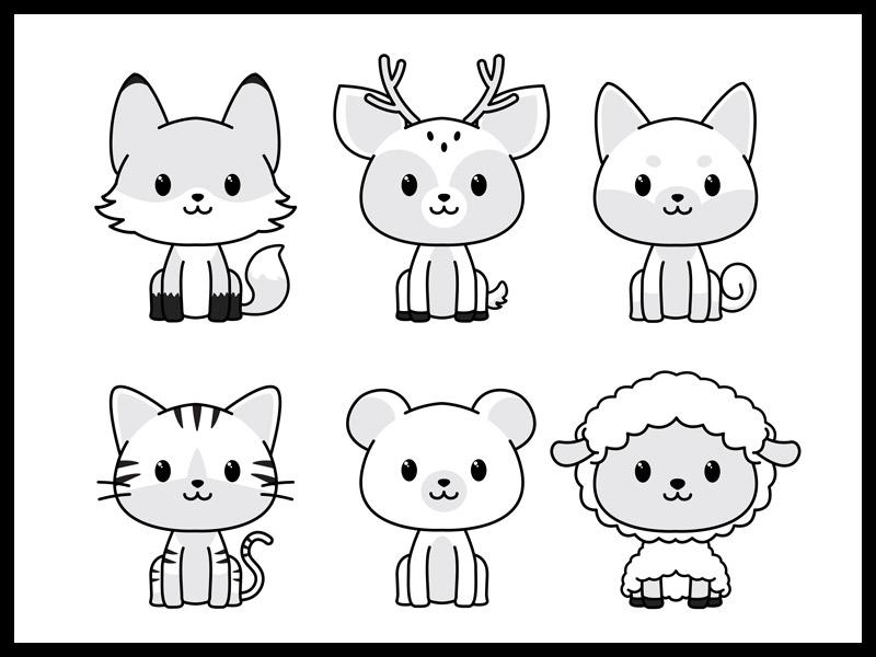 Dibujos kawaii para colorear ikigai animalitos del bosque