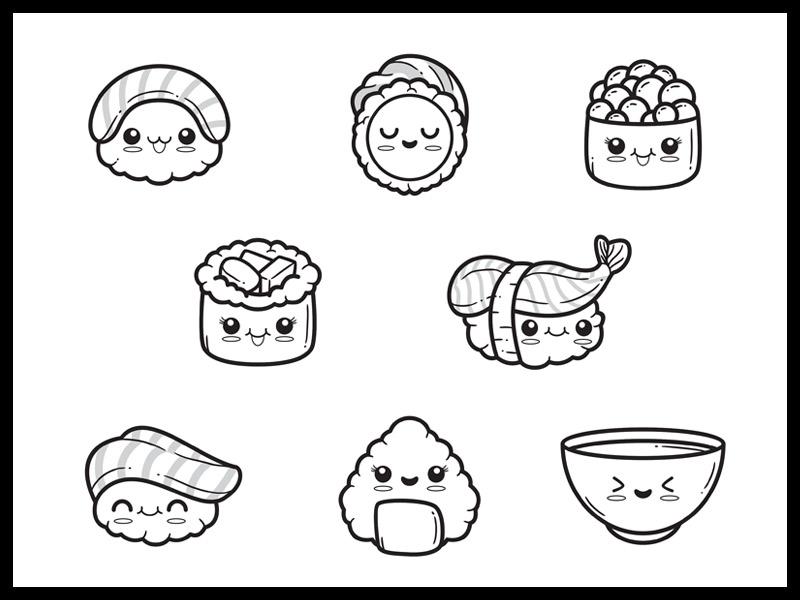 Dibujos kawaii para colorear comida