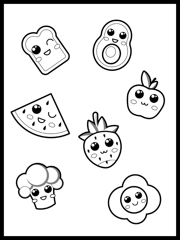 Dibujos kawaii para colorear ikigai desayuno saludable